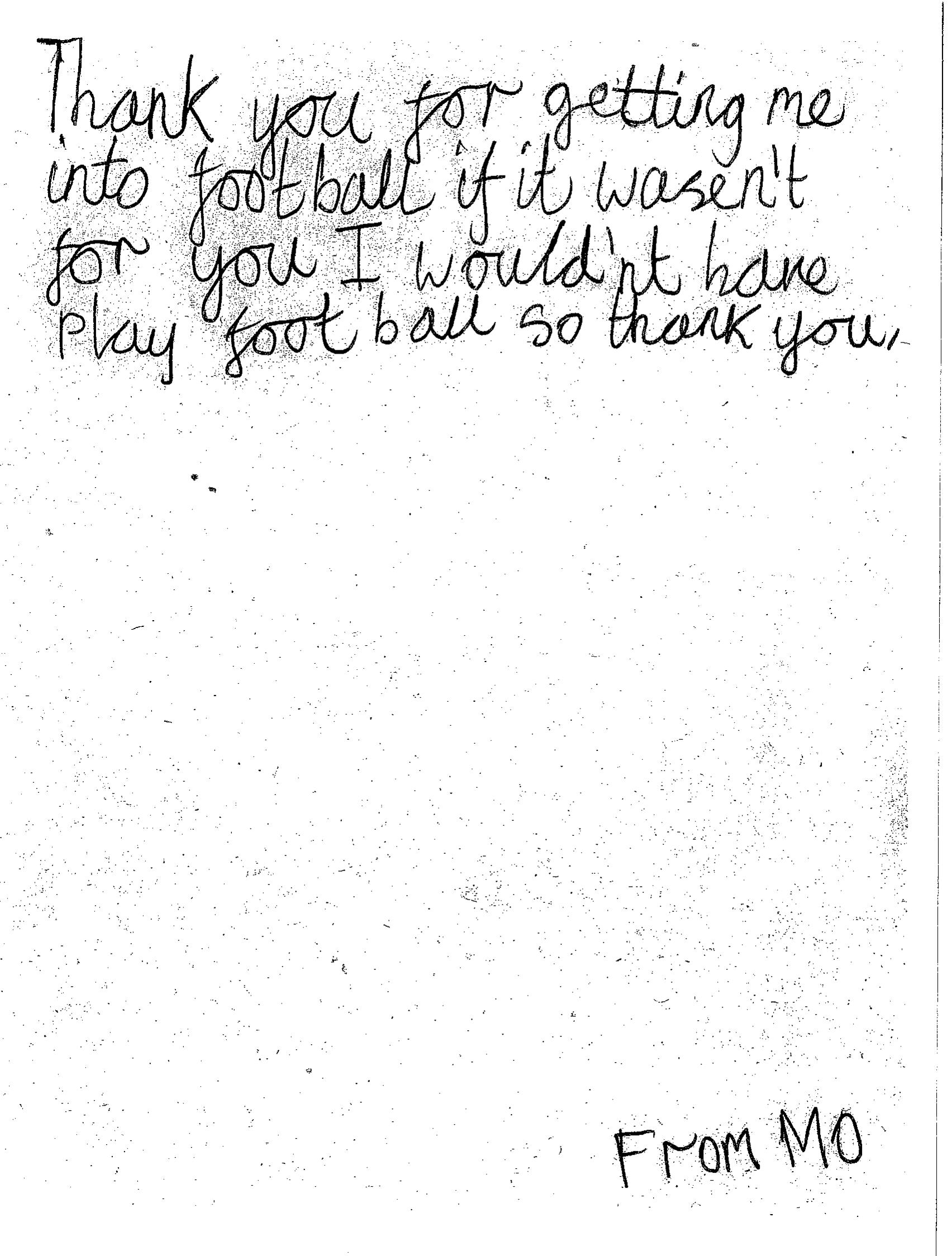 Thank you – Football – brightly