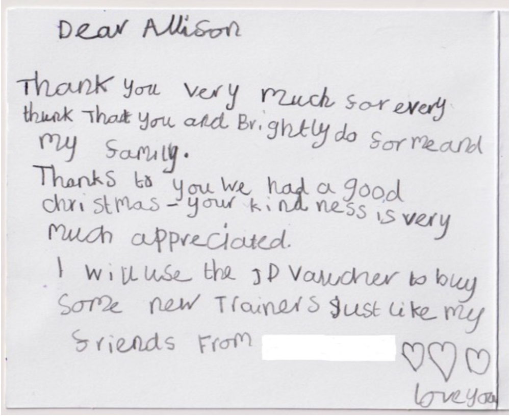 9 year old thank you card